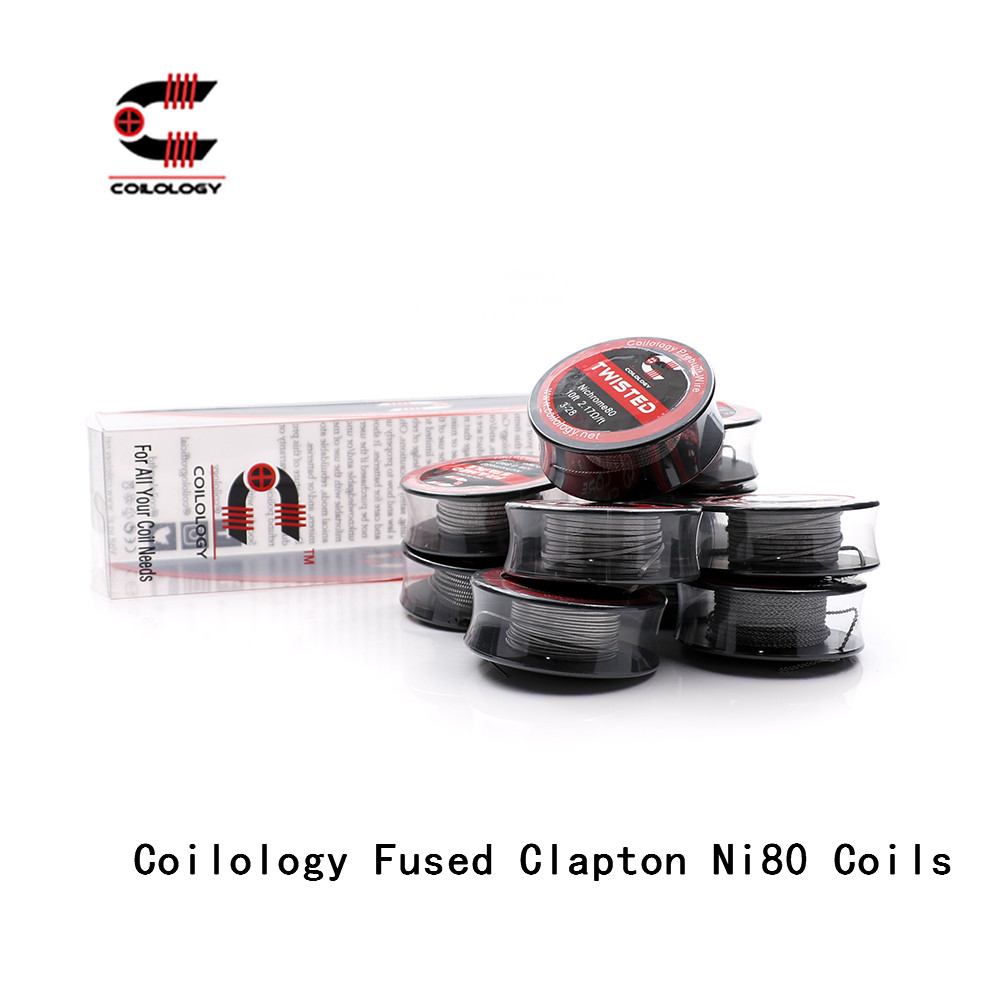 Coilology Fused Clapton Ni80 Coils Pre-made Heating Wire Resistance Vape Coil For E-Cigarette RDA,RTA,RATA,RBA Atomizer