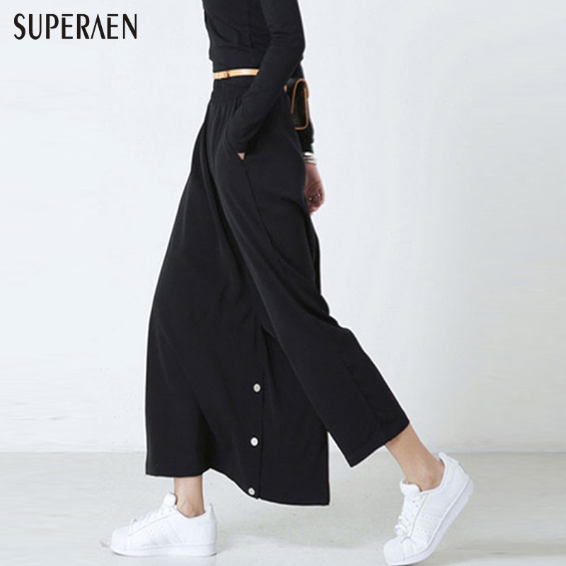 2016 Autumn New Black Women   Wide     Leg     Pants   Fashion 9 Points High Waist   Pants   Long Women Top Stylish   Pants