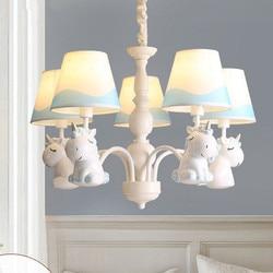 Tworzenia kreskówek Pegasus żyrandol chłopców dziewcząt sypialnia pokój dziecięcy światło śródziemnomorski ogród prosty i piękny żyrandol|Wiszące lampki|Lampy i oświetlenie -