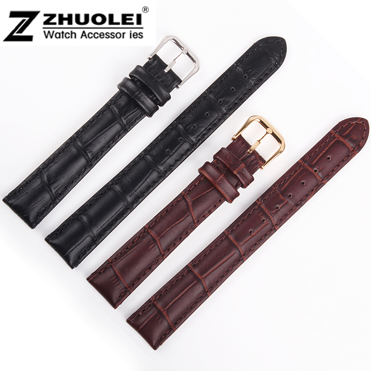 12mm 14mm 16mm 18mm 19mm 20mm 21mm 22mm 24mm 26mm 28mm Black Brown Crocodile grain Genuine Leather Watch Bands strap Bracelets