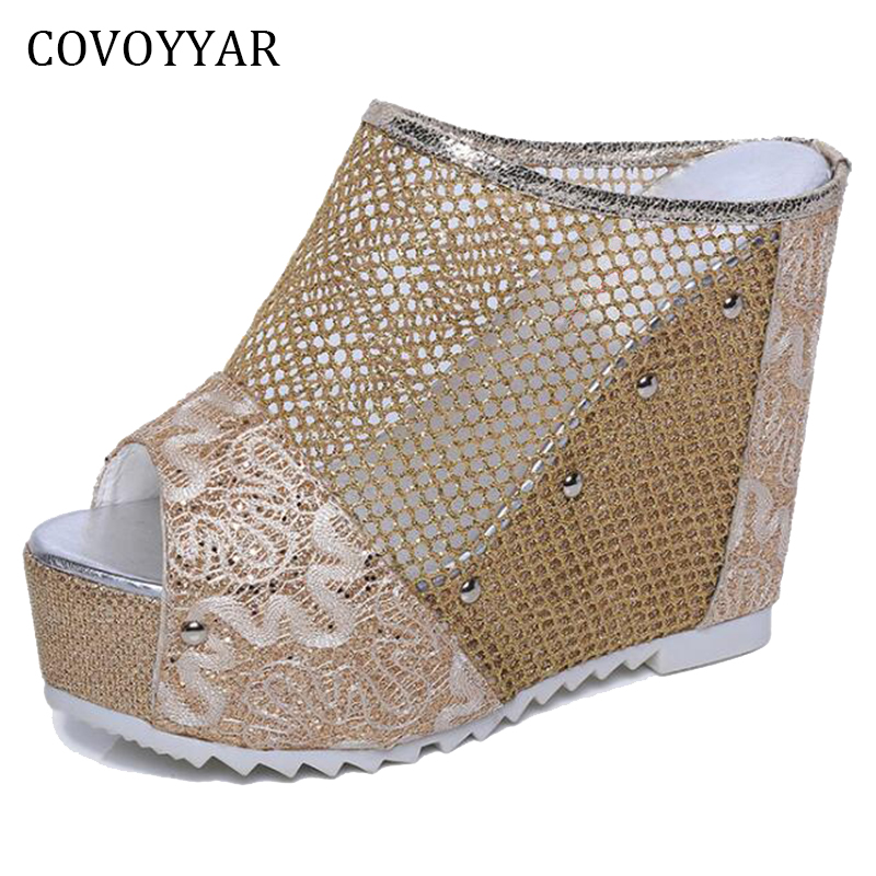 COVOYYAR Peep Toe Mesh Women's Sandals Summer 2018 New Chic Slingback Lady Super High Heels Rivets Wedges Women Shoes WSS910