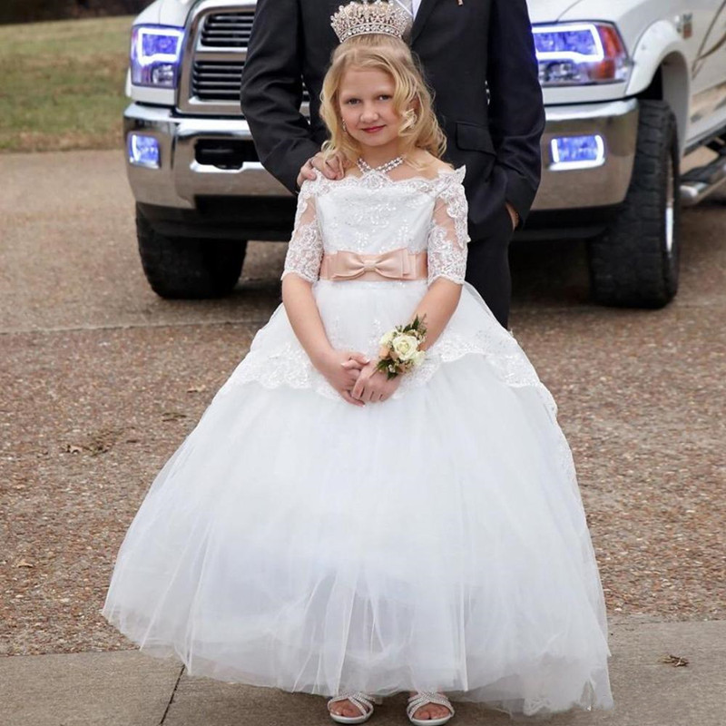 Well-Designed Princess   Dress   with Lace Appliques Crystals Ribbon Custom Made   Flower     Girl     Dress   For Wedding New Arrivals Vestidos