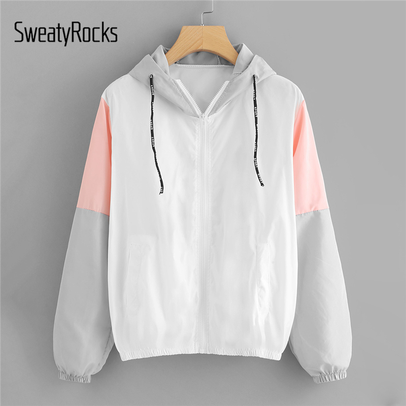 SweatyRocks Women Autumn Fashion Hooded Two Tone Windbreaker Jackets Zipper Casual Outwear Coats Color Block Drawstring Jacket