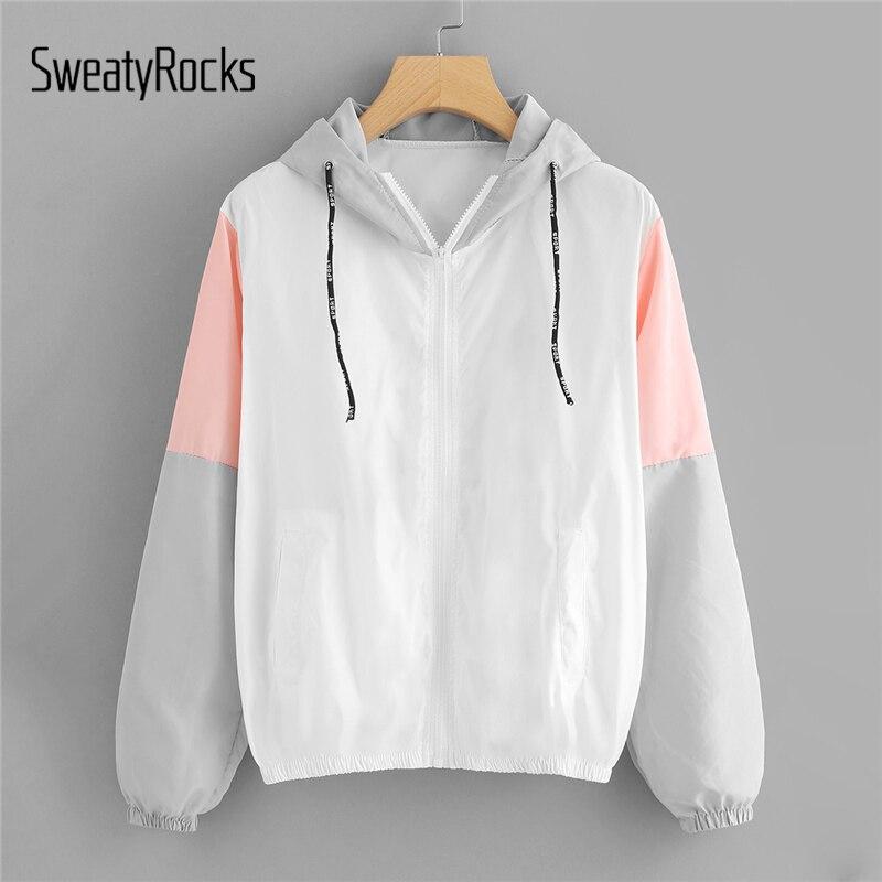 SweatyRocks Women Autumn Fashion Hooded Two Tone Windbreaker Jackets Zipper Casual Outwear Coats Color Block Drawstring Jacket