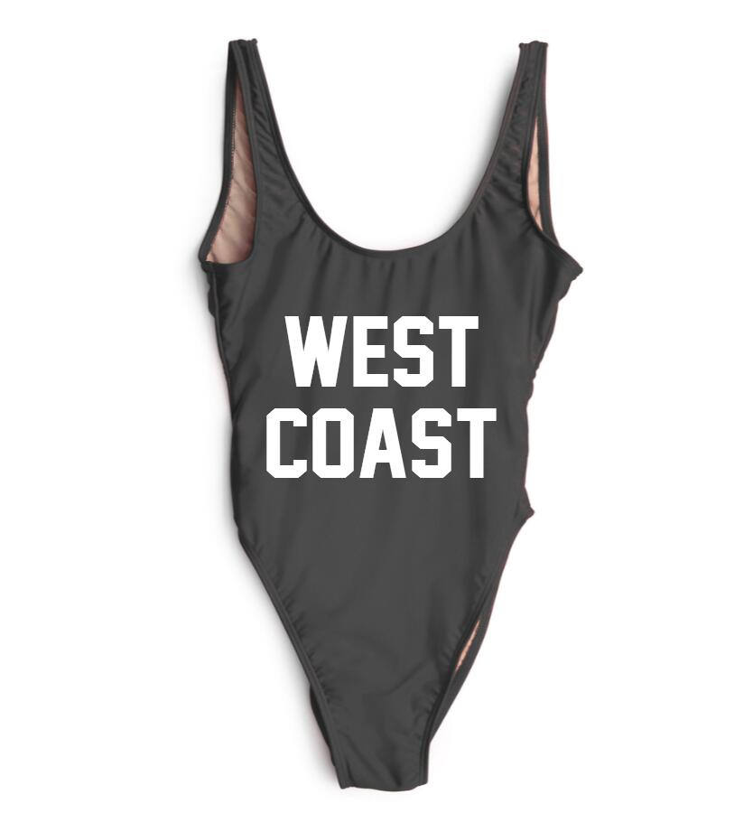 c378e40f7b 2017 New West Coast Letter One Piece Swimsuit Women Swimwear High Waist Bathing  Suit Black White