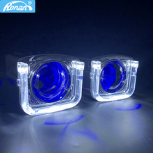 RONAN 2.5'' Ver 8.1 Bi-Xenon HID Projector Car Headlight Lens White Angel Eyes Red Demon Retrofit H4 H7 Car Styling Headlamp