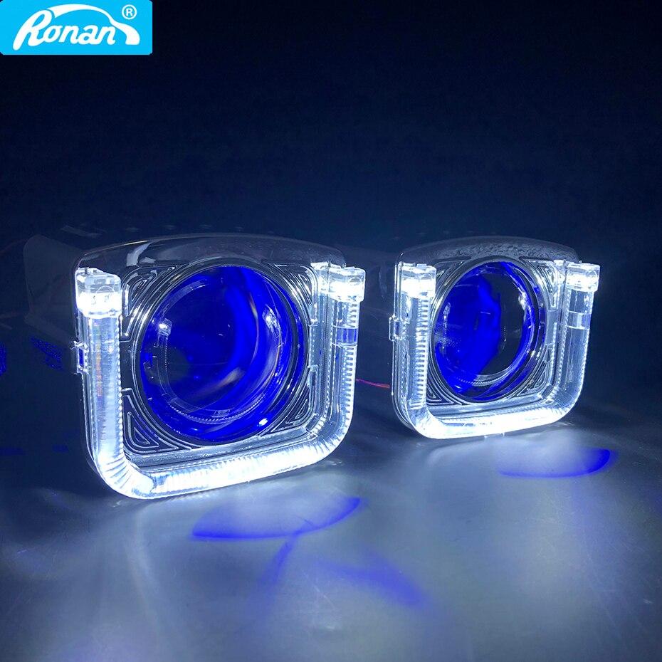 RONAN 2.5 ''Mini HID Bi xenon H1 projecteur voiture phare lentille U halo blanc ange diable yeux linceul voiture style H4 H7 phare