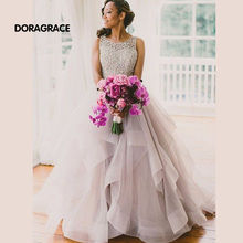 Romantic A Line Organza Beads Long Prom Dresses Backless Evening Gowns Designer DGE043