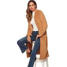 2019 New Plush Brown Coats Women Autumn Winter Warm Outwear Solid Color Womens Clothing(China)