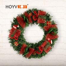 Artificial decoration party plant ribbon garland 30cm Christmas Day home DIY wedding wreath HOYVJOY