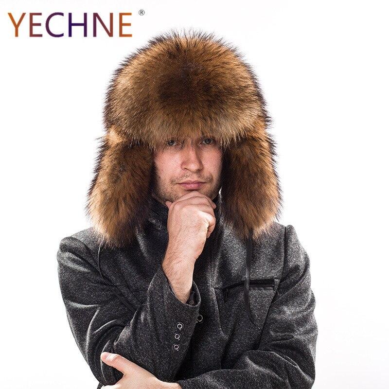 Hat Fox-Fur-Hats Raccoon-Fur Russian Ushanka Earflap Aviator Snow Trapper Winter Genuine