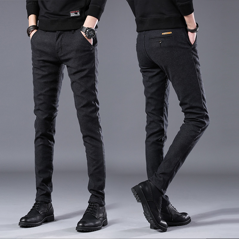Men's Business Casual Pants Trend Designer Korean Style Slim Male Trousers Classic Plaid High Quality Straight Stretch Pants Men