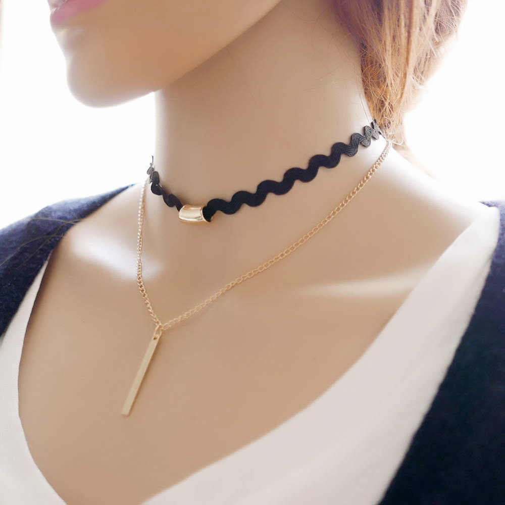 New Product 2 Layer Gothic Black Lace Chocker Gold Chain Strip Pendant Necklace Colar Vintage Choker Necklace Women Collane