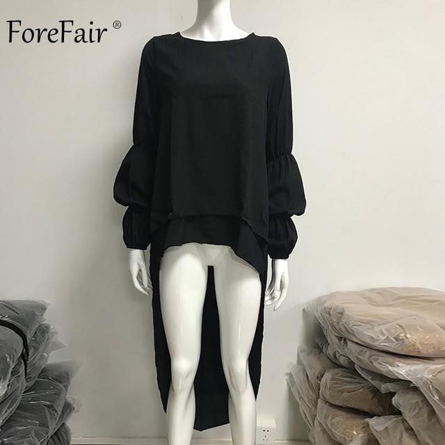 Forefair Plus Size Chiffon Blouse Shirt Female Casual Elegant Two Layers Lantern Long Sleeve Ruffle Long Blouses Women