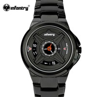 INFANTRY Mens Quartz Watches Luxury Sport Army Analog Wristwatch Black Stainless Steel Military Watches Relogio Masculino