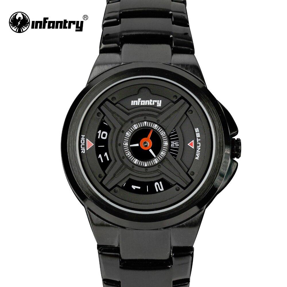 ทหารราบบุรุษควอตซ์นาฬิกาหรูหรากีฬากองทัพอนาล็อกนาฬิกาข้อมือสีดำสแตนเลสนาฬิกาทหารRelógio ...