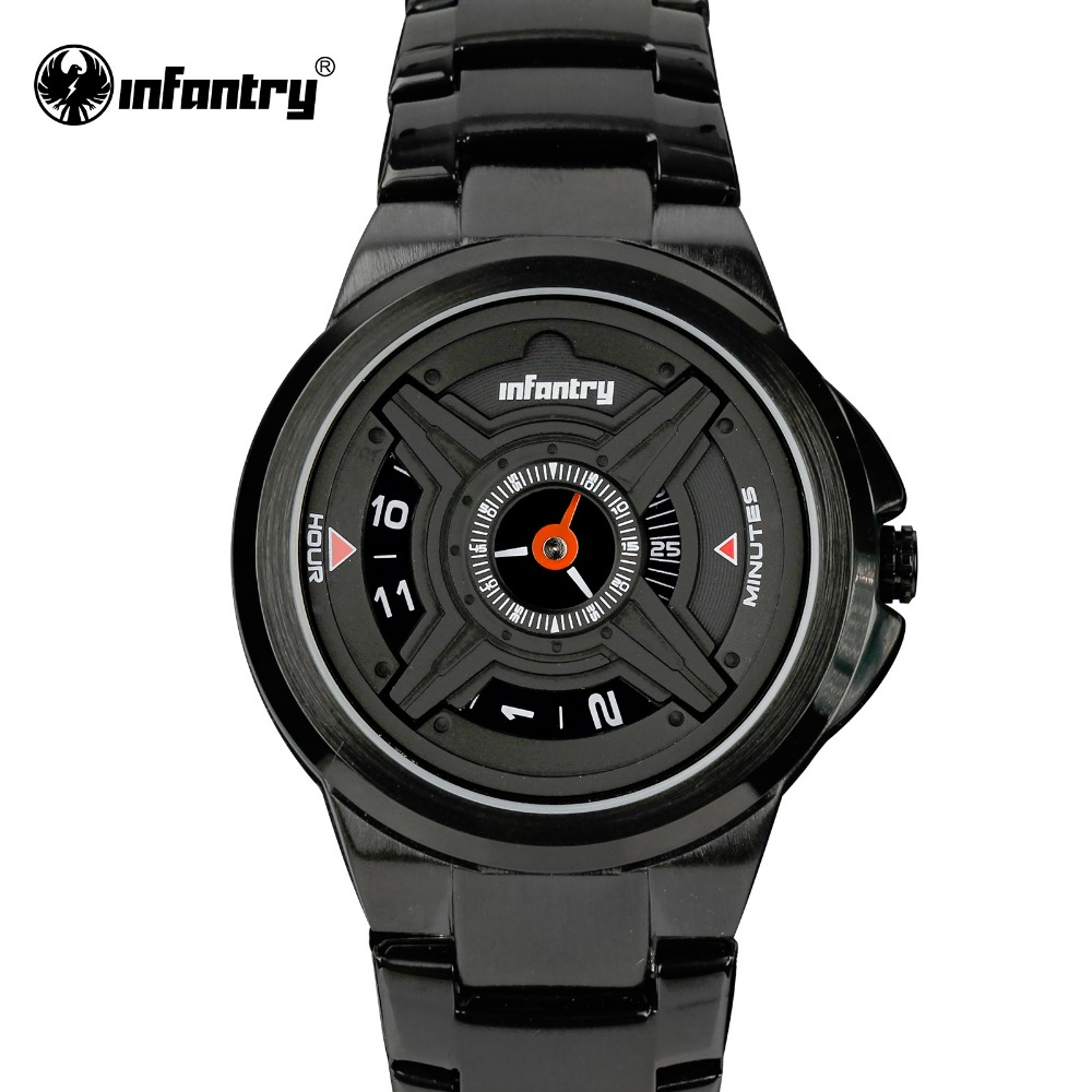 INFANTRY Heren Quartz Horloges Luxe Sport Army Analoog Horloges Zwart - Herenhorloges - Foto 1