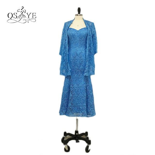 Plus Größe Blau Tee länge Spitze Mutter der Braut Kleider mit Jacke ...