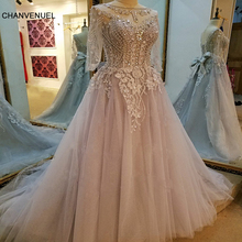 LS68935 formal evening gowns dresses vestidos de festa 3/4 sleeves lace up back beaded crystal A line evening dresses real photo