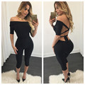 2016 Summer New Hot sell Europe America women sexy bandage Jumpsuit girl black short backless off shoulder slash neck playsuits