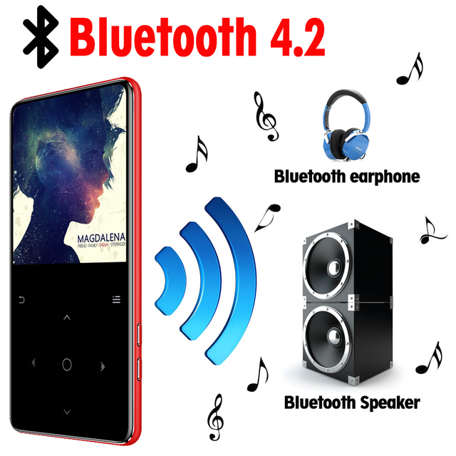 MP3 Player with bluetooth speaker touch keys hi fi fm radio mini USB mp3 sport MP 3 HiFi music player portable metal walkman 32G