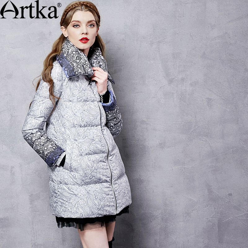 ARTKA Autumn Women's Jacket Winter Duck Down Coat Female Long Parka Warm Windbreaker Print Vintage Raincoat Plus Size ZK11369D
