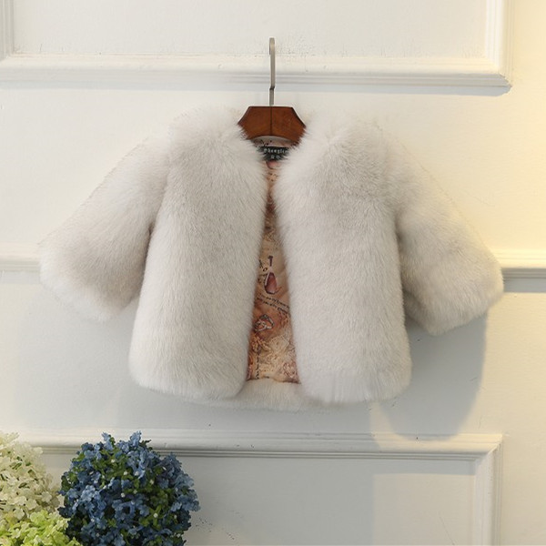High Quality Soft Fur Coat for Baby Girls Solid Faux Fox Fur Coat Kids Ruffly Fur Outwear O-neck Girls Long Sleeve Fox Fur Coat
