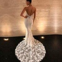 vestidos de noiva 2019 Sexy Backless Wedding Dresses Mermaid Style Spaghetti Strap V neck Vintage Lace Bride Dress