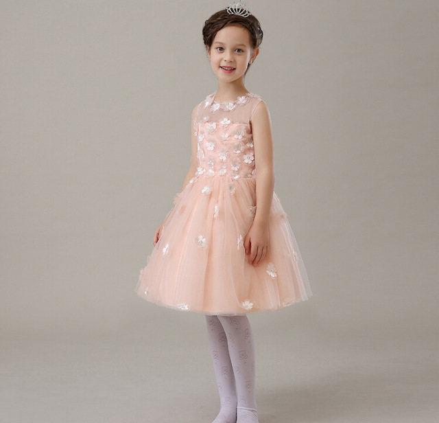 2016 Summer Style Baby Girl Dress Pink Appliques Baptism Dress for Girl Infant 1 Year Birthday Dress Baby Girl Chirstening Gown