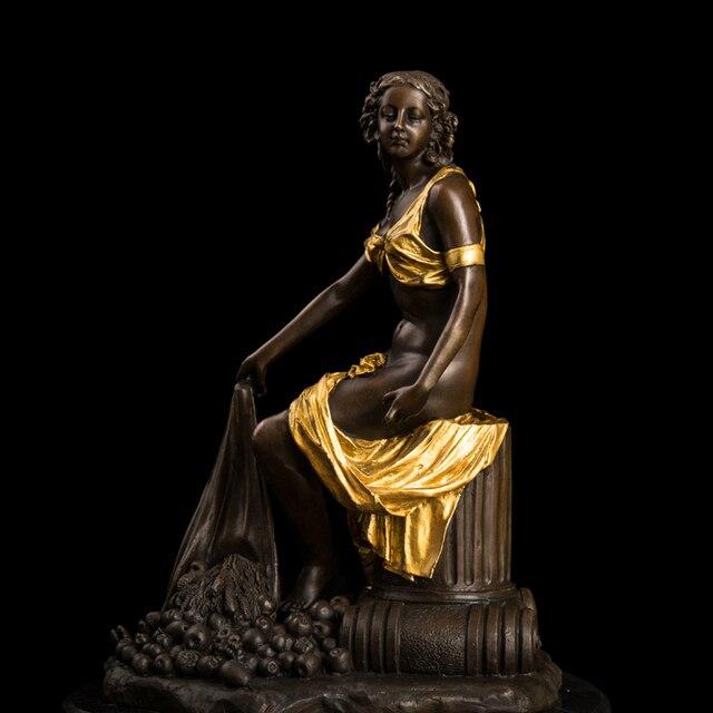 ATLIE Bronzes Sculpture Semi Nude Girl Statue Sitting With Fruits Garden  Statues Figurine En Bronze