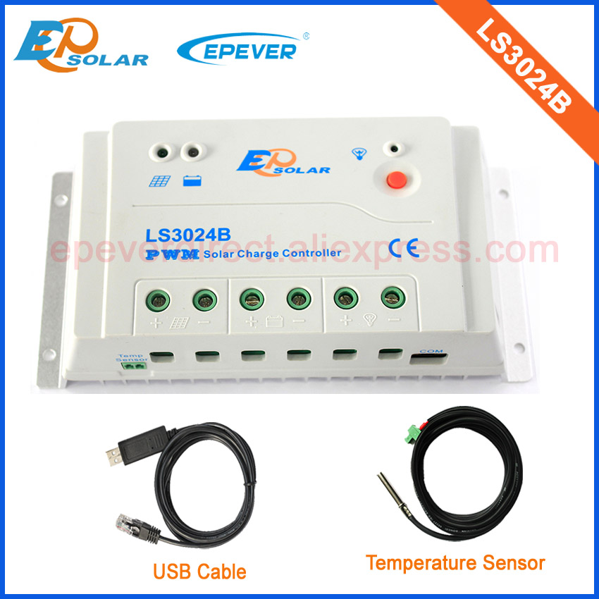PWM solar power controller 30A 30amp with temperature sensor and USB cable LS3024B for 12v/24v auto work nv q4500w 20a intelligent dual solar power transfer controller regulador solar dual for 12v 24v solar power system 110v 220 240v