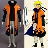 Athemis 2014 Winter Cotton Costumes Naruto Shippuuden Uzumaki Naruto Cosplay Uniform with Long Cape Cloak New Arrival