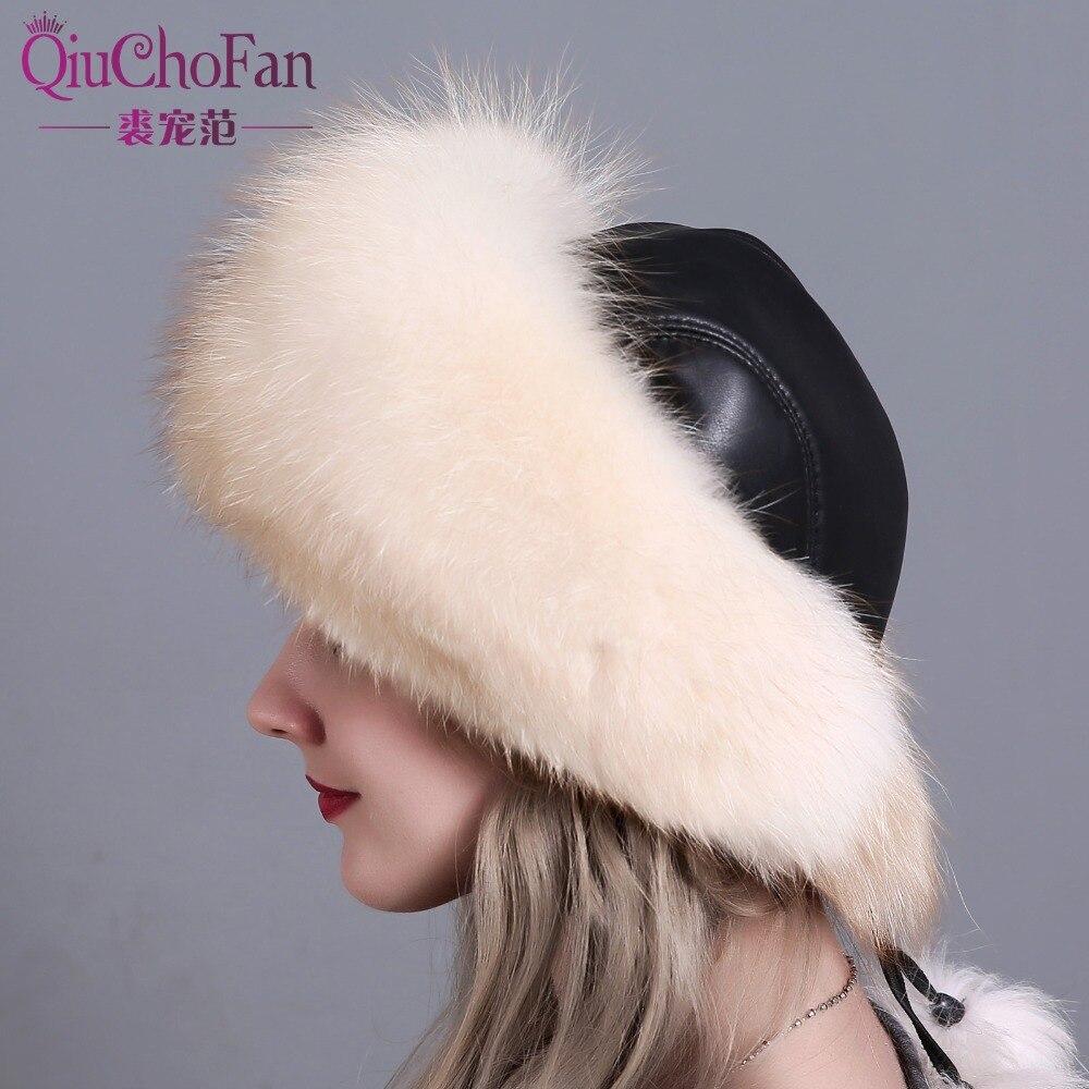 Chapeaux d'hiver pour femmes véritable fourrure de renard et fourrure de lapin chapeau avec 2 Pompons entier queue de renard russe hiver extérieur chaud mongol casquettes - 4