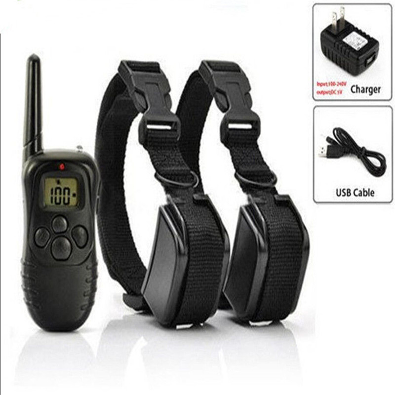 300 M 100 Level Remote Rechargeable Living Waterproof Electronic Pet Dog Training Collar Anti-Bark Dog Cat Collar Leads ...