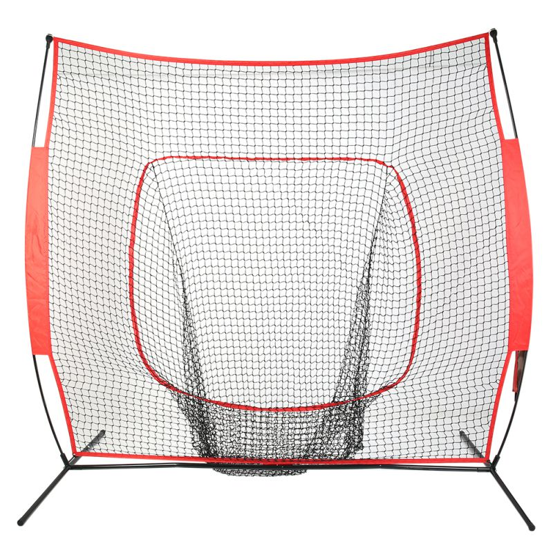 7*7 Softball Baseball Practice Net with Bow Frame Compact Carrying Bag Softball Training Net Outdoor Sports Training hockey net travel portable lacrosse pop up lax net for backyard shooting collapsible outdoor sport training foldable hockey goal