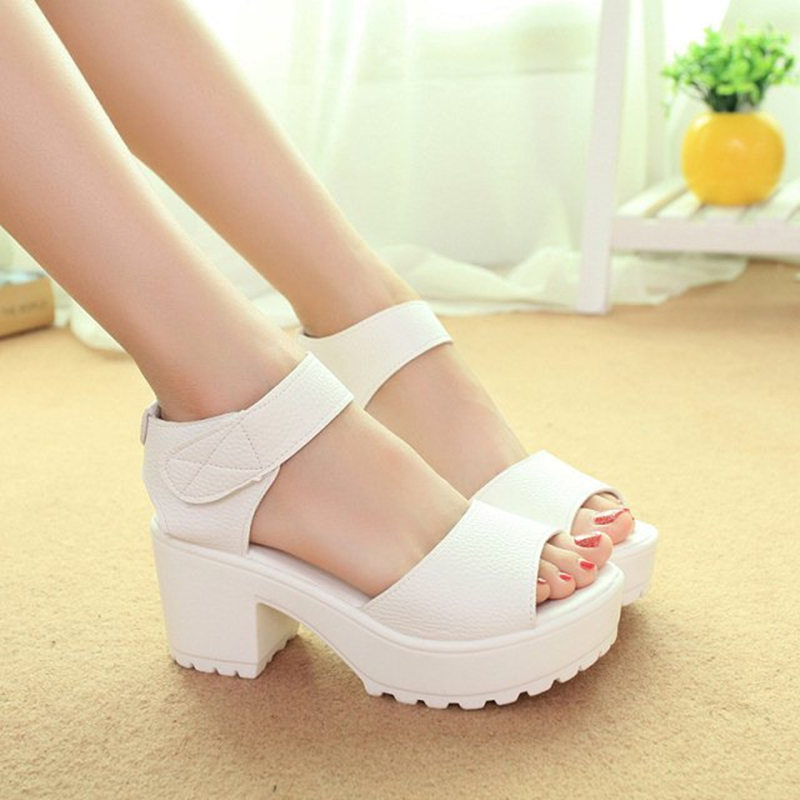 2017 New Summer Pep toe Woman Sandals Platform Thick Heel Summer Women Shoes Hook Loop Fashion