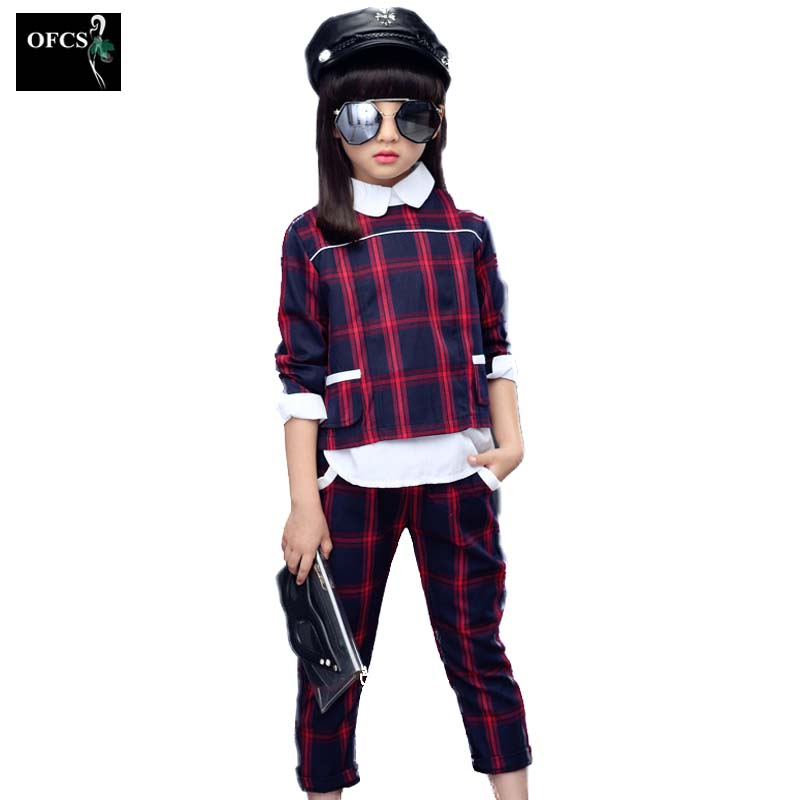 OFCS Retail Girls Suits Period 2018 New British Children Grid Long-sleeved john Casual Sport Outfit Girls Sets 2 Pcs 5-15Age