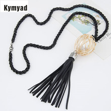 Kymyad Long Link Tassel Necklace For Women Jewelry Bijoux Simulated Pearl Ball Jewellery Necklaces Pendants Sweater