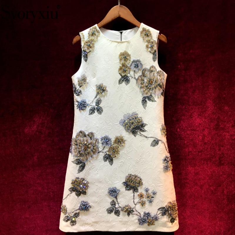 Svoryxiu Designer ฤดูร้อนที่กำหนดเองหรูหราสั้นชุดคริสตัลประดับด้วยลูกปัด Vintage พิมพ์ Jacquard Party Dresses Vestdios-ใน ชุดเดรส จาก เสื้อผ้าสตรี บน   1