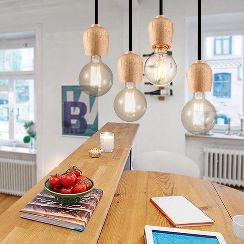 Madera moderna colgante luces comedor lámpara colgante de cuerda ...