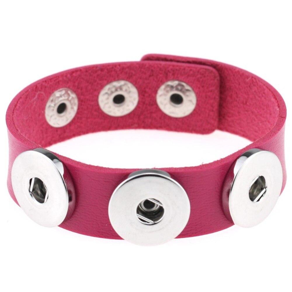 1 St Vele Kleuren Import Pu Lederen Snaps Armband Voor 18/20 Mm Knoppen Fit Snaps
