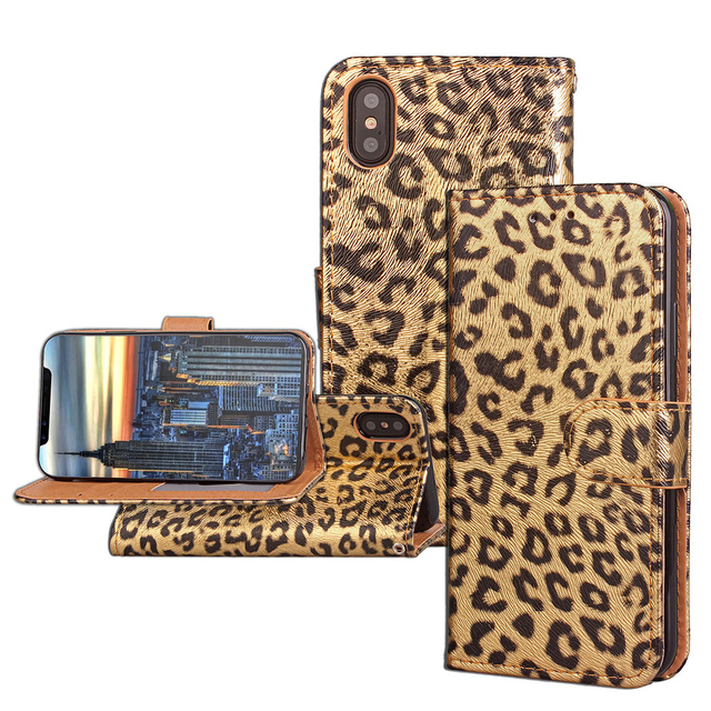 info for 2dcc1 ae0b6 US $6.64 5% OFF|New Sexy Women Leopard Print Wallet for iPhone X 10 Case  Covers Flip TPU Leather Cases Black Cover for iPhone X iPhoneX iPhone10-in  ...