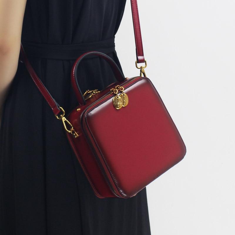 Small Women Handbag Handmade Genuine Leather 2018 Stylish Shoulder Sling Bags Top-handle Cowhide Messernger Crossbody Box Bag stylish bare shoulder printed women s chiffon top