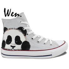 Wen Hand Painted Grey Shoes Design Custom Cute Panda Men Women's High Top Canvas Sneakers for Boys Girls Christmas Gifts