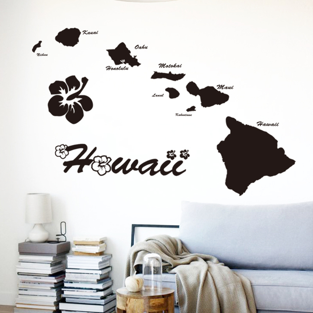 Art Cheap Vinyl Home Decoration Hawaii Islands Wall Sticker Removable House Decor Name Quote Map Decals In Living Room Bedroom