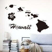 Art tanie winylowe home decoration Hawaje wyspy nazwa mapa naklejki cytat naklejka ścienna wymienny wystrój domu w salonie sypialni