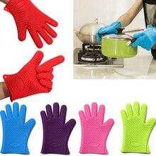 1 шт. термостойкие силиконовые кухонные перчатки держатель для выпечки и bbq гаджет кулинарные рукавицы барные инструменты