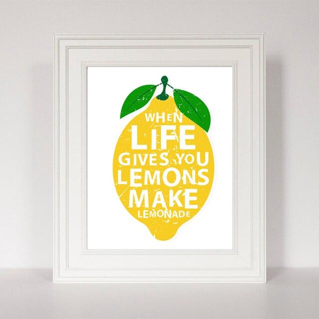 La vita Ti dà Limoni Citazioni Su Tela Dipinto Moderno Stampe Poster ...