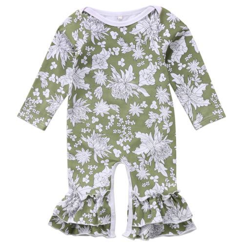 Newborn Infant Baby Girl Romper Ruffle Floral Jumpsuit Autumn Long Sleeve Green Girls Clothing Playsuit Clothes Outfits 0-24M baby girl 1st birthday outfits short sleeve infant clothing sets lace romper dress headband shoe toddler tutu set baby s clothes