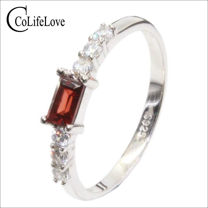 все цены на Elegant silver garnet ring for girl 3 mm * 5 mm natural garnet gemstone silver ring solid 925 sterling silver garnet ring онлайн